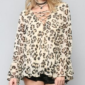 Leopard String Blouse Top